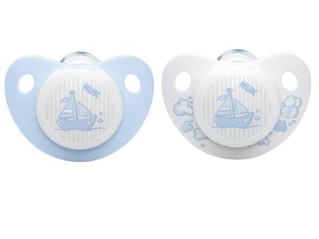 NUK Baby Blue soother - silicone -  The NUK Soother Silicone Baby Rose & Blue Edition in the color blue is available in two sizes.