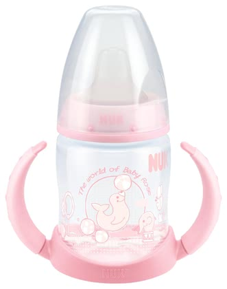 NUK Baby Rose FIRST CHOICE training bottle, 150ml - The first step to independence begins with the NUK First Choice Training Bottle Baby Rose.