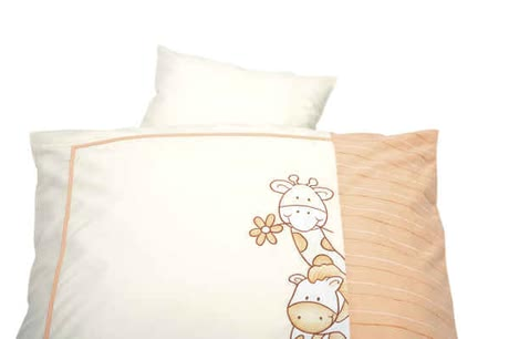 Alvi Bettwäsche, Dschungel apricot 80x80 - Bedding for cradles, bassinet and stroller Size: Pillow (35x40cm) and blanket (80x80cm),