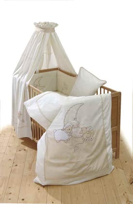 Alvi Bettset, Traumschaf - Bed-set  with wonderful cotton wool quality with lovely motivesbed set includes:canopy , cover for pillow: size 40x60 cm, cover for bedcover: size 100x13...