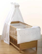 Alvi Bettset, Bunter Kringel - Bed-set  with wonderful cotton wool qualitybed set includes:canopy , cover for pillow: size 40x60 cm, cover for bedcover: size 100x135 cm, net:  approx. ...