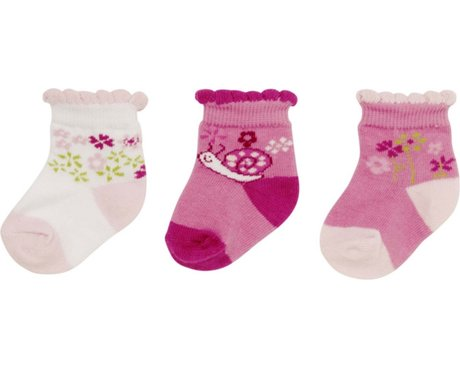Playshoes newborn baby socks, pack of 3, with turn-down tops rosa 2016 - 大圖像