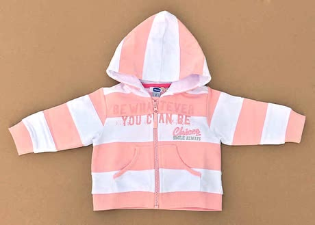 Chicco Sweat-Jacke gestreift - 011 weiß-rosa - large image