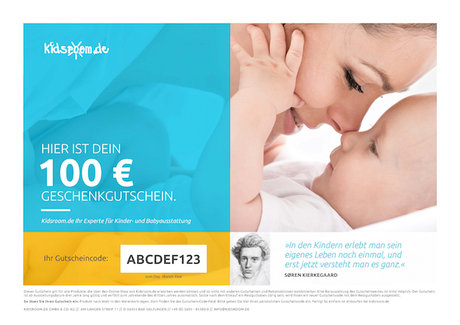 kidsroom gift voucher 100 EUR - You are looking for a gift for a new Earthling? Suprise your loved ones with a shopping voucher from kids-room.com, your Baby and children's outfitter on the internet.