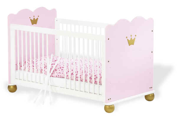 pinolino kinderbett prinzessin karolin 70x140 fichte wei rosa buy at kidsroom. Black Bedroom Furniture Sets. Home Design Ideas