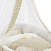 Alvi Cradle set with embroidery - Alvi cradle set 3 pieces: consisting of: bed linen (35x40/80x80), cradle sky and padded nest. High quality cradle set with embroidery.