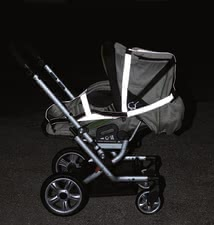 Gesslein Safety kit -  The 3-piece set of reflectors by Gesslein can be quickly and easily attached to your stroller and provides more safety in the dark