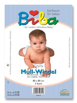 "Biba muslin diaper ""Solo"" - The BIBA gauze is made of 100% cotton and thus ensures a comfortable fit for your sweetheart."
