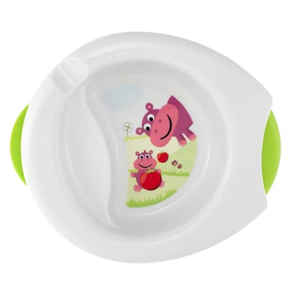 Chicco Insulated plate set 2in1 -  The Chicco warming plate keeps baby's meal longer warm.