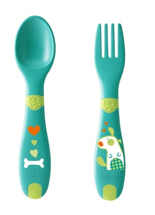 Chicco First baby cutlery, 12m+ - The two-part Chicco baby-cutlery is suitable for your sweetheart from the 12th month, has rounded tips and ensures so security when eating