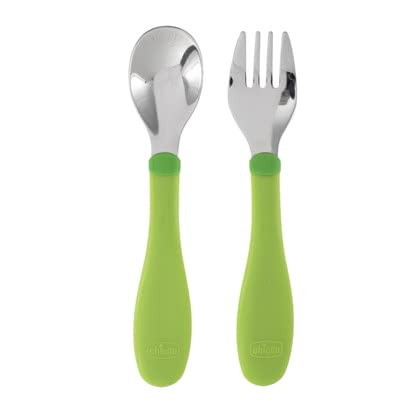 Chicco Stainless steel cutlery set, 18m+ - The Chicco cutlery-set consists of one fork and one spoon, which are made of stainless steel at the upper part