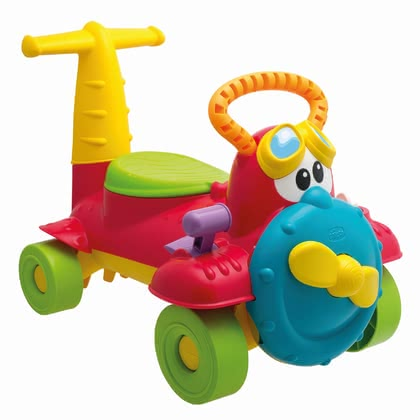 Chicco Charly ride-on airplane -  With the beautifully designed and colorful Charly Ride-on airplane by Chicco your favorite can fly through his nursery and nature.