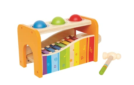 Hape Xylophone and hammer bench -  The Hape Xylophone and hammer game is suitable for your little musician from the age of 12 months