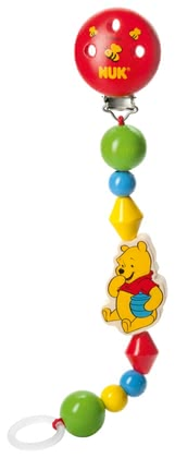 NUK Disney wooden soother chain Winnie the Pooh - No more tears because of the soother is missing! With the NUK soother chain made from wood the soother of your little angel is never out of reach.