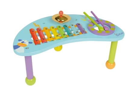 BoiKido 玩具音樂桌 - The BoiKido music table is equipped with a drum, xylophone, mini-cymbal and two drumsticks and is ideally suited for the early music education