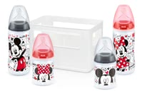 NUK Disney Mickey First Choice+ starter set - NUK Disney Mickey First Choice+ starter set with 4 anti-colic wide-mouth feeding bottles with silicone teats and bottle-box, BPA-free With the First Choi...
