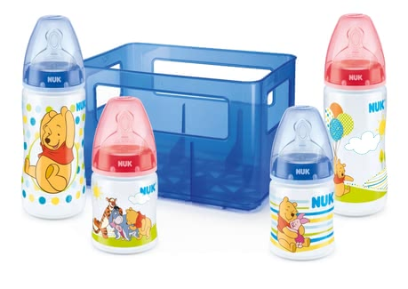 NUK Disney First Choice+ Starter Set - NUK Disney Winnie First Choice+ Starter Set mit 4 Anti-Colic Weithalsflaschen mit Silikonsauger und Flaschenbox BPA-frei Das First Choice+ Starter Set Di...
