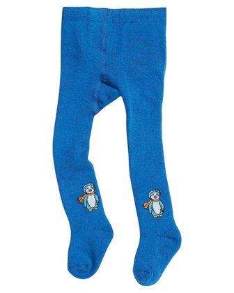 Playshoes thermal tights, patterned Pinguin blau 2014 - large image