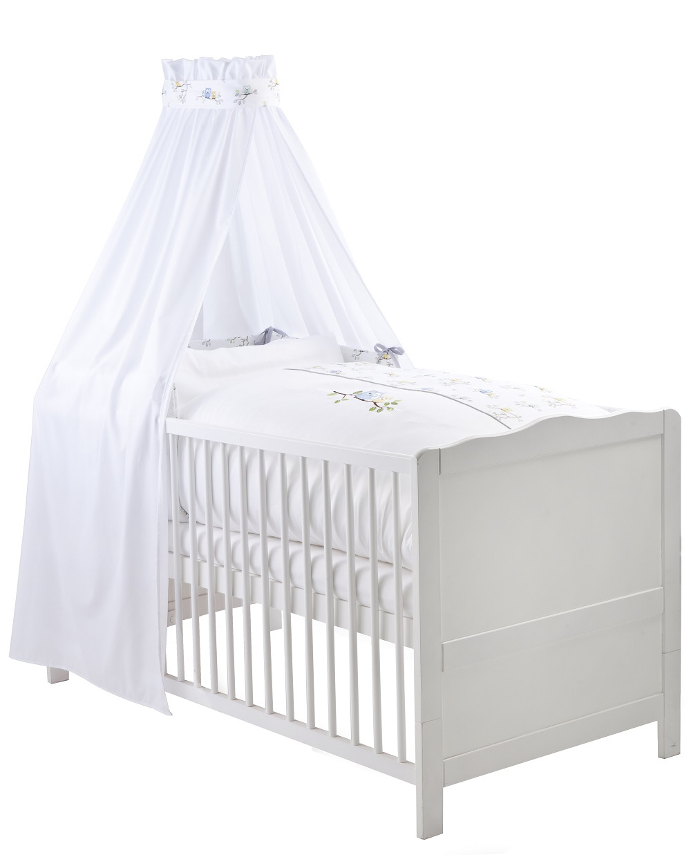 ensemble voile et linges de lit petites chouettes blanc. Black Bedroom Furniture Sets. Home Design Ideas