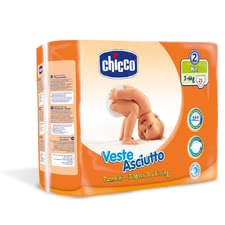 "Chicco Veste Asciutto diapers, size 2 ""Mini"", 3-6 kg - The Chicco diapers size 2 are suitable for your favorite with a body weight of 3-6 kg, and offer perfect protection"