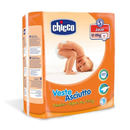 "Chicco Veste Asciutto diapers, size 5 ""Junior"", 12-25 kg - The Chicco Junior diapers are highly breathable, gentle on baby's skin and suitable for 12-25 kg body weight"