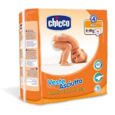 "Chicco Veste Asciutto diapers, size 4 ""Maxi"", 8-18 kg - The Chicco diapers size 4 are suitable for your sweetheart from 8-18 kg, and guarantee maximum comfort"