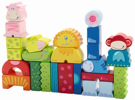 Haba Building blocks Eeny, Meeny, Miny, Zoo! - Build your own small Zoo and by the way get to know the animals. What is a crocodile? Where is the lion's head? What color is the monkey?