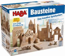 Haba Basic building blocks, extra-large starter pack - Varied and repeatedly hit in the nursery - great sturdy wooden blocks. Whether triangles, square, cube, bridges,...