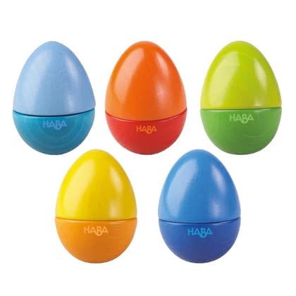 Haba Musical eggs - Rattle, rattle, rattle, chirp or ring... what will it be? Every Musikei makes a different sound and brings her little Sparrow to the rays. Shake one or two.