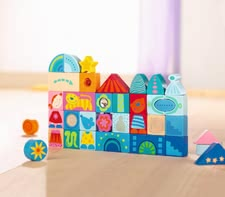 Haba Puzzle blocks Fantasy - From the age of 1 ½ years is try out your little sunshine his skill with the colourful and durable wooden building blocks.
