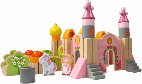 Haba Play blocks Big Fairytale Castle - Love your little mouse princesses, castles, and the shade of pink? Then, the great building blocks by HABA are exactly right.