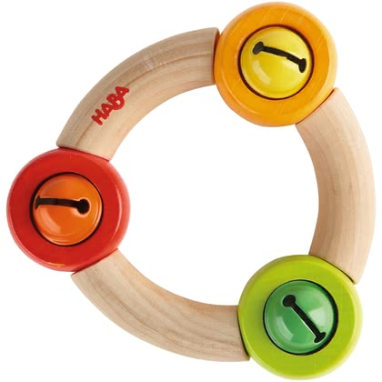 Haba Clutching toy Ringela - Ringela is equipped with three coloured bells. Your little Darling will love it when attacking after the toy, a faint ringing sounds.