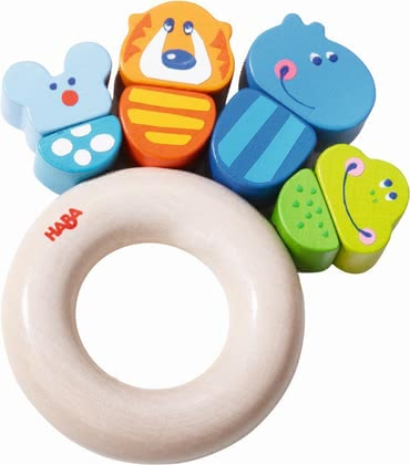Haba Clutching toy Jungle Caboodle - Even the little ones have fun with the colorful jungle animals. Lion, hippopotamus and co.