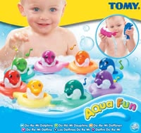 Tomy DoReMi Dolphins - Tap the head of the dolphin and listen intently what we hear a note. Each coloured Dolphin sings a different touch.