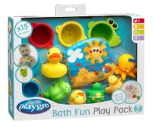 Rotho Bathtime gift set, 15 pcs. - The set consists of six bad game animals, colorful stacking cups and a water-proof picture book.