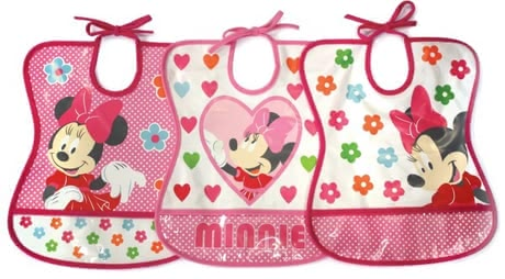 Tomy Minnie Mouse bib - Bright colors and the friendly Minnie encourage your little Princess to eat the plate empty mouse.