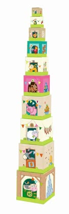 Haba Stacking cubes On the Farm - Small animal friends discover a different animal on each of the ten stable cubes.