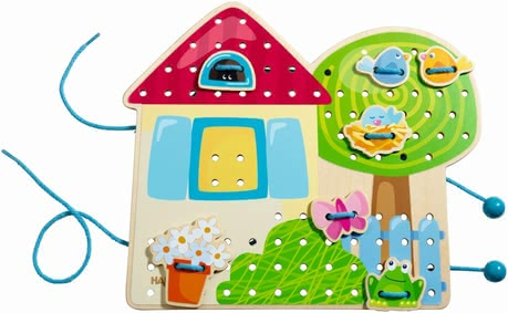 Haba Threading game Gretel's Summerhouse - Let the bird sit on the roof, the flowers in the window or on the lawn. The dog playing happily in the garden and giant mushrooms grow under the Apple tree.