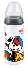 NUK First Choice Plus Romero Britto baby bottle, 300ml - The NUK first choice + baby bottle in PP in the exclusive design of Romero Britto, size 2 M, 6-18 months is equipped with a silicone drinking cleaner,.