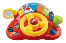 VTech Funny Driving School - The big fun for little racers from 12 months. Funny driving school has a portable steering wheel, shift lever, ignition key and a flashing light.