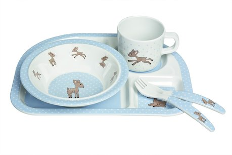 Children's crockery set Lela by Lässig -  Eating like the tall with the crockery set by Lässig. The 5 part set consists of a food plate with four divisions, a cup, bowl and cutlery which is decorated with cute motives and provides a lot of fun while eating independently.