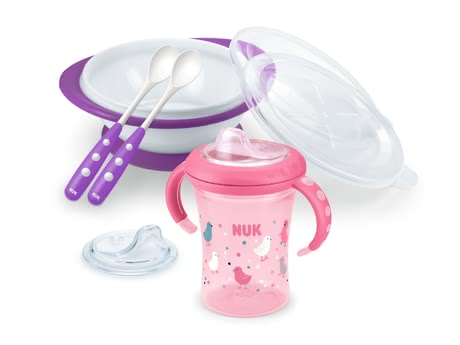 NUK Trainer tableware set - The NUK Esslern set consists of 1 x Starter Cup, 1 x Esslernschale, 2 x feeding spoon and 1 x spare drinking spout Starter Cup, 6 months NUK easy learnin...
