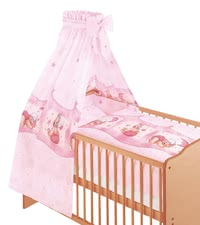 Zöllner 3-piece cot set Cuddly Bear, pink - The cosy bed set by Customs officers, your little stuffed mouse in his crib will feel safe and secure.