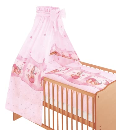 Zöllner 3-piece cot set Cuddly Bear, pink 2016 - large image