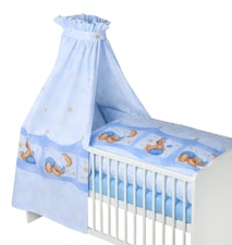 Zöllner 3-piece cot set Cuddly Bear, blue - With the cozy bed set by Zöllner your little earthlings will feel safe and secure in his crib.
