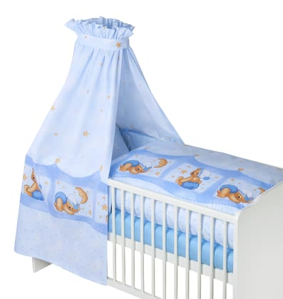 Zöllner 3-piece cot set Cuddly Bear, blue 2016 - большое изображение