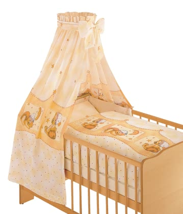 Zöllner 3-piece cot set Cuddly Bear, apricot - With the cozy bed set by Zöllner your little earthlings will feel safe and secure in his crib.