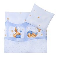 Zöllner 2-piece bedding set Cuddly Bear, blue - Healthy sleep promotes the development of your little sunshine. That's why your Sparrow in the crib or bassinet should feel comfortable.