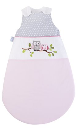 Zöllner Sleeping bag with appliqué, Little Owls, pink - The beautiful sleeping bag in the chic girls look convinces with its high quality - made in Germany.