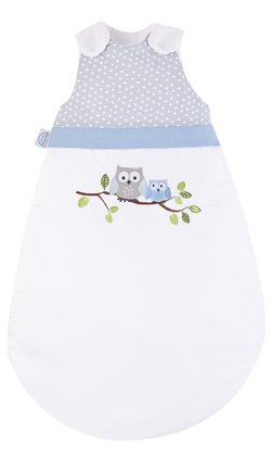 Zöllner Sleeping bag with appliqué, Little Owls, blue - The beautiful sleeping bag in the Chic young look convinces with its high quality - made in Germany.
